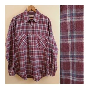 Vintage Sears Plaid Shirt Wool Blend sz L